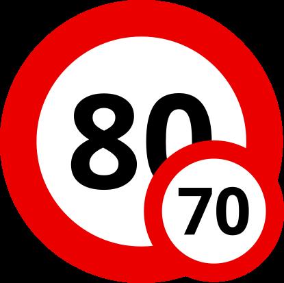 Auf Österreichischen Landstraßen darfst Du mit Deinem Wohnwagen 80 km/h schnell fahren.