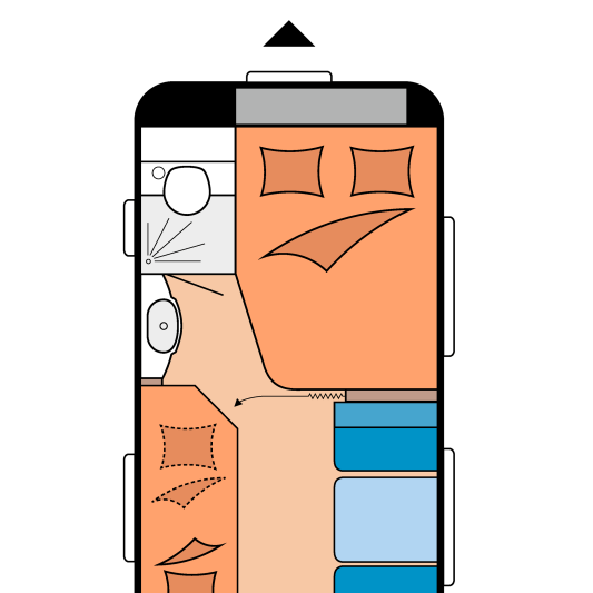 Grundrissplan eines Wohnwagens mit Bug Markierung