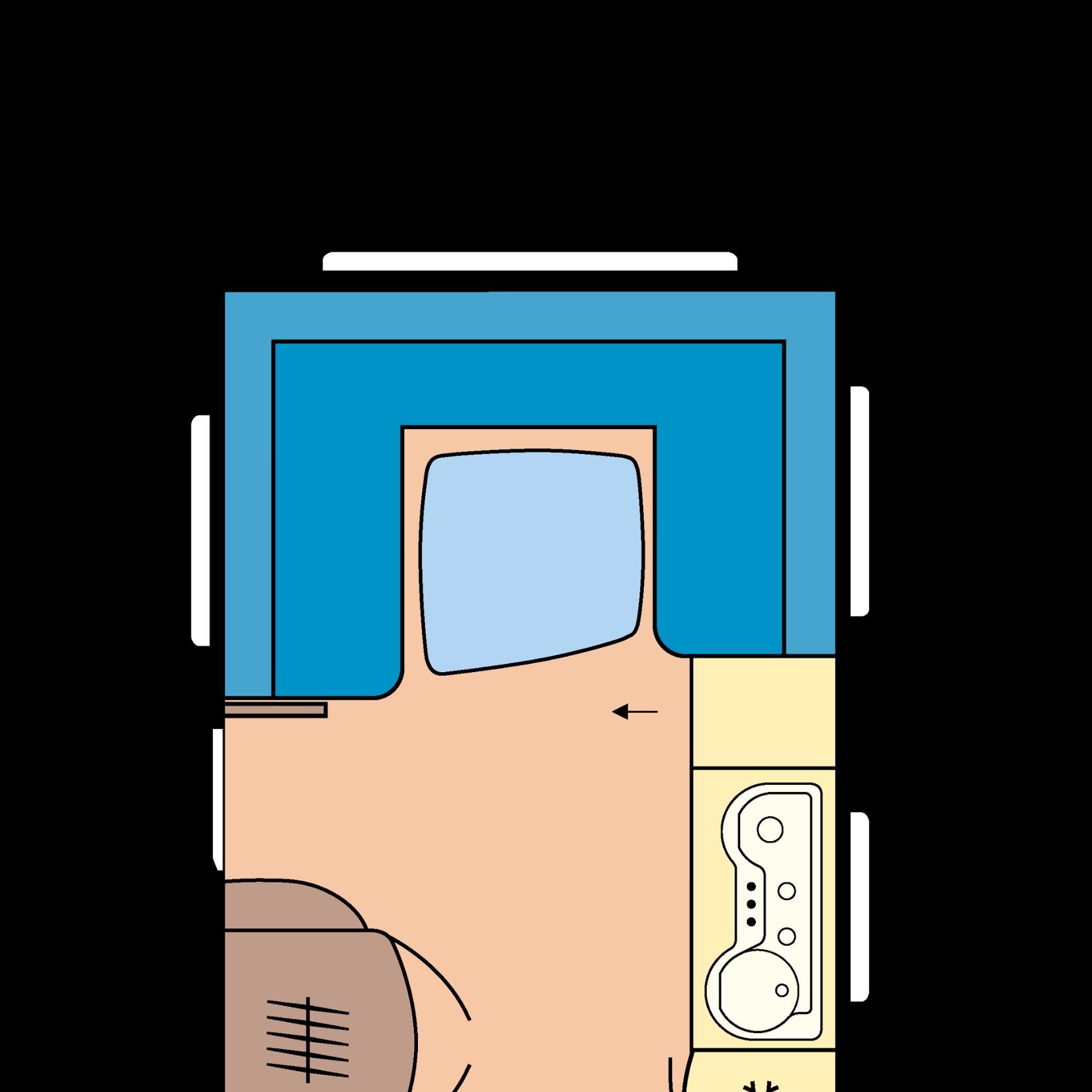 Grundrissplan eines Wohnwagens