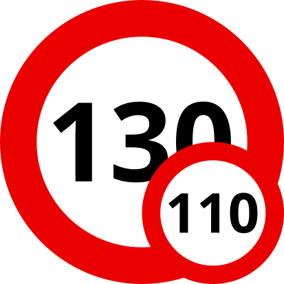 Auf den Autobahnen Frankreichs sind 130 km/h, bei Nässe und für Fahranfänger nur 110 km/h mit einem Wohnwagen erlaubt.